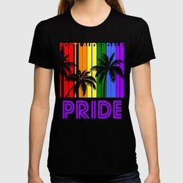 Fort Lauderdale Pride Gay Pride LGBTQ Rainbow Palm Trees T-shirt