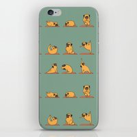 huebucket iPhone & iPod Skins featuring Pug Yoga by Huebucket