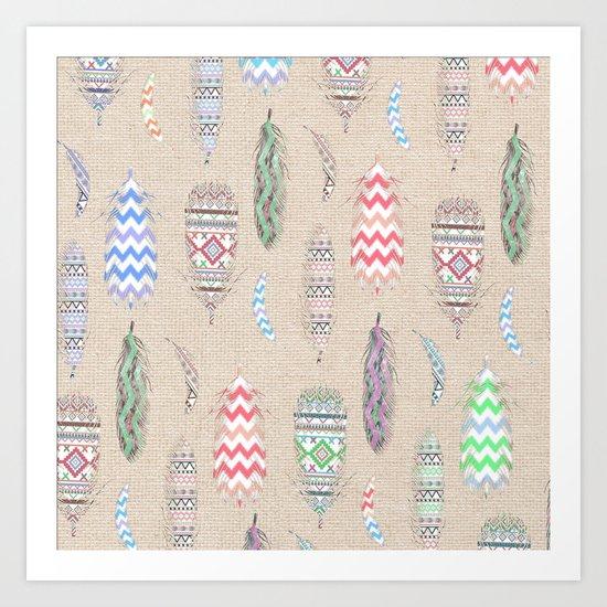 Tribal Feathers Pink Aztec Teal Chevron Pattern Art Print