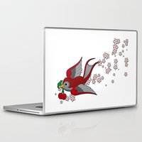 swallow Laptop & iPad Skins featuring Red Swallow by Jelly Roger
