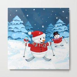 Christmas Snowman Family III Metal Print