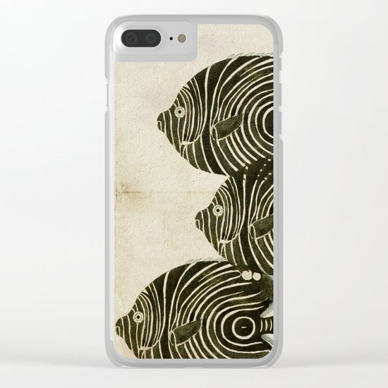 Shoal of Black Fish Clear iPhone Case