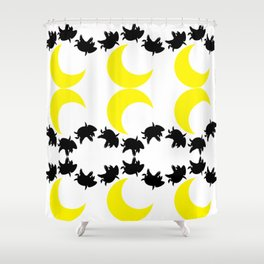 half moon with flying pigs Shower Curtain