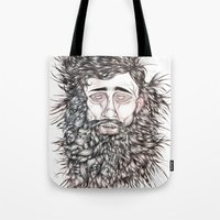 beard Tote Bags featuring BEARD by Leah Cooper