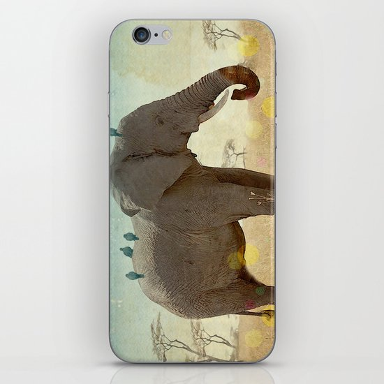 along for the ride _ an elephant and his feathered friends iPhone & iPod Skin