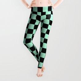 Black and Magic Mint Green Checkerboard Leggings