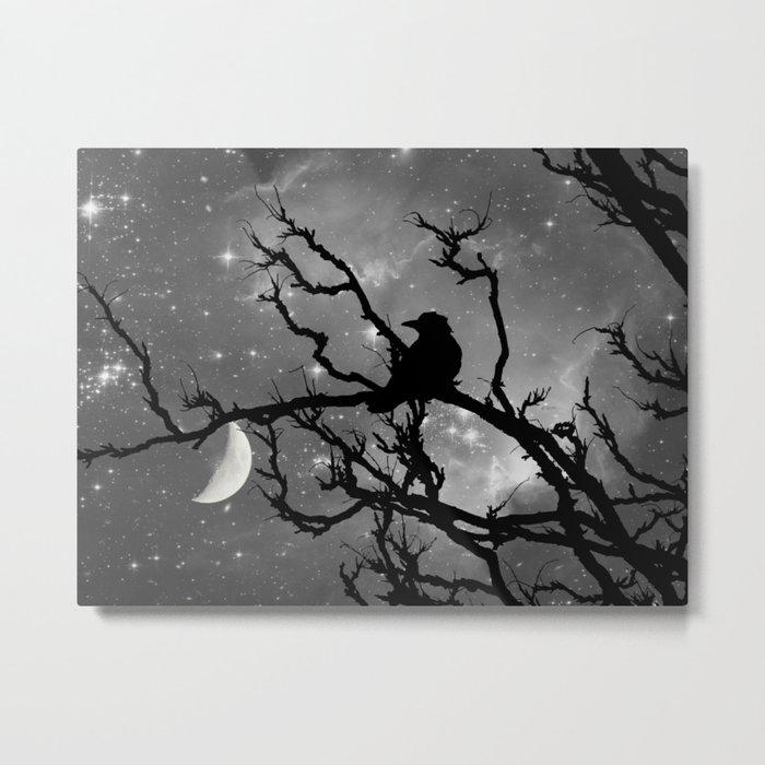 Black Bird Silhouette on Starry Night A492BW Metal Print