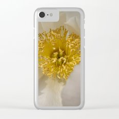 Centered - White Peony Flower Clear iPhone Case