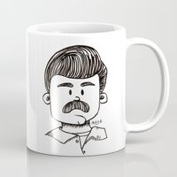 ron swanson Mugs featuring Ron Swanson by art by arielle
