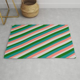 Dark Cyan, Salmon, Light Grey, and Dark Green Colored Lined/Striped Pattern Rug