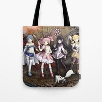 madoka Tote Bags featuring Madoka by drawn4fans
