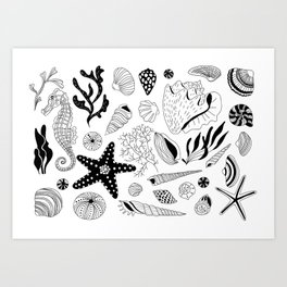 Tropical underwater creatures and seaweeds Art Print