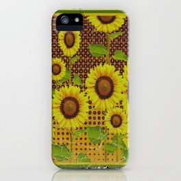 GRUBBY WORN BROWN SUNFLOWERS ART iPhone Case