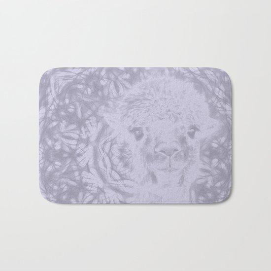 Ghostly alpaca and Lilac-gray mandala Bath Mat
