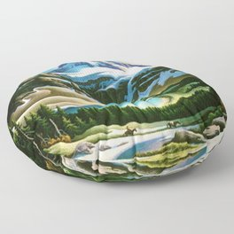 The Trail Riders Mountain Landscape by Thomas Hart Benton Floor Pillow