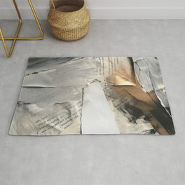 Too Soon | Collage Series 1 | mixed-media piece in gold, black and white + book pages Rug