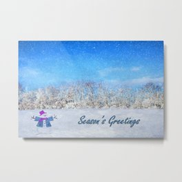 Frosty Season's Greetings Metal Print