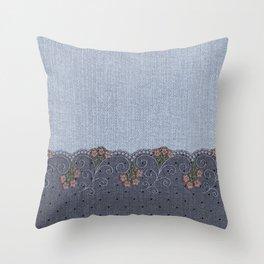 Denim Lace 13 Throw Pillow