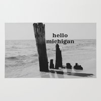 michigan Area & Throw Rugs featuring Hello Michigan by KimberosePhotography