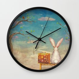 Sad rabbit  with suitcase sitting on the bench on the cloud in sky  Wall Clock