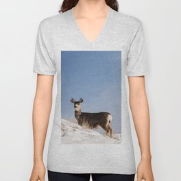 Deer Prancing Among  Snow Covered Hills Colored Wall Art Print Unisex V-Neck
