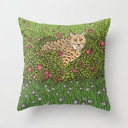 Bobcat & Wild Rose Throw Pillow