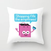 sagan Throw Pillows featuring Retail Therapy by David Olenick
