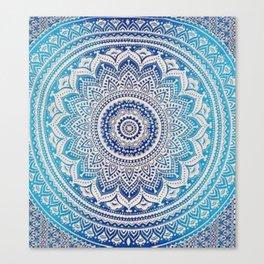 Teal And Aqua Lace Mandala Canvas Print