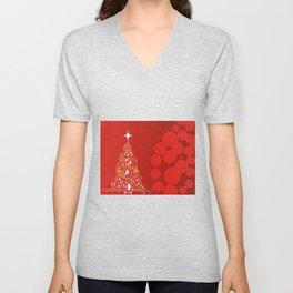 Red Christmas Background Unisex V-Neck