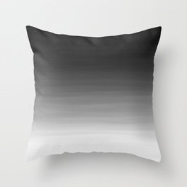 Black and White Haze Abstract Ombre Throw Pillow