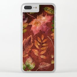 My favorite color is october- Colorful autumnal leaves pattern Clear iPhone Case