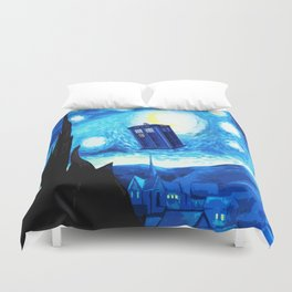 Starry Night Blue Phone Box Duvet Cover