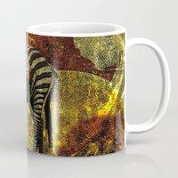 zebra Mugs featuring Zebra by Saundra Myles