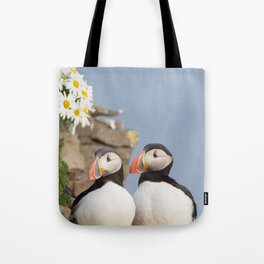 Puffins with Daisies Tote Bag