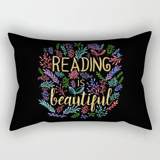 Reading is Beautiful - Gold Foil Rectangular Pillow