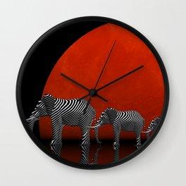 linking elephants Wall Clock