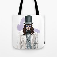 dracula Tote Bags featuring Dracula by Myrtle Quillamor