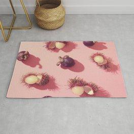 03_#Rambutan#mangosteen#tropical#fruits#in pink Rug