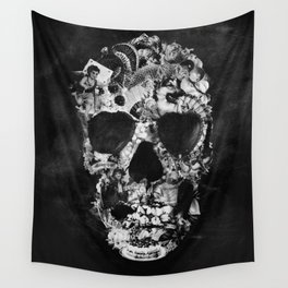 Vintage Skull BW Wall Tapestry