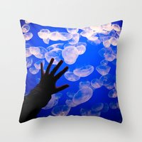 the life aquatic Throw Pillows featuring Life Aquatic by Michelle Fay