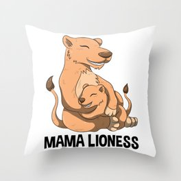 Mama Lioness T Shirt Cute Cub Strong Big Cats Lion Mother Throw Pillow