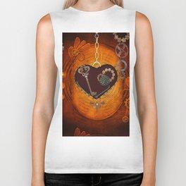 Steampunk, heart with gears Biker Tank