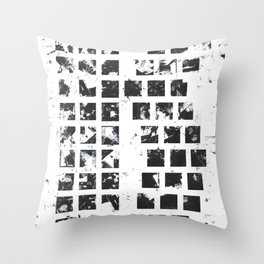 Squares abstact painting in black and white Throw Pillow