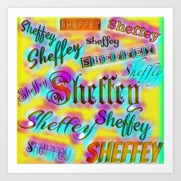 Sheffey Fonts - Yellow and Pink Rainbow 9642 Art Print