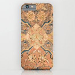 Persian Motif III // 17th Century Ornate Rose Gold Silver Royal Blue Yellow Flowery Accent Rug Patte iPhone Case