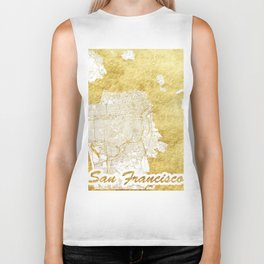 San Francisco Map Gold Biker Tank