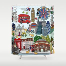 The Queen's London Day Out Shower Curtain