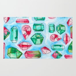 Red and Green Watercolor Gems Rug