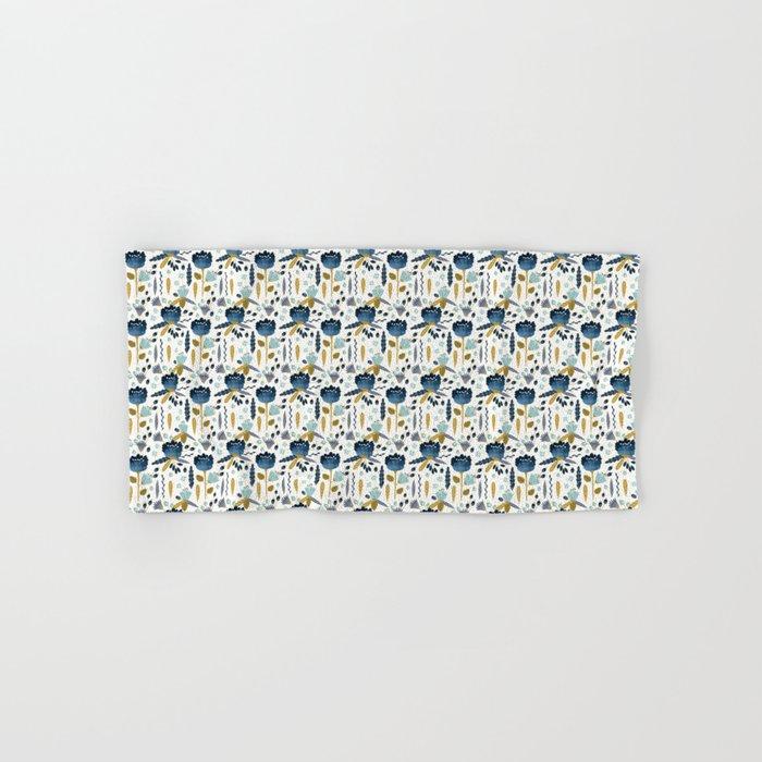 Acuarela Blue Flowers Pattern Hand & Bath Towel