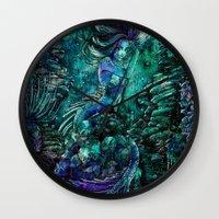 siren Wall Clocks featuring Siren by Nemeth Alina